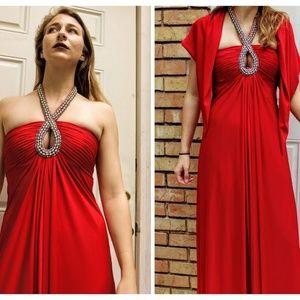 Vintage 60s VICTORIA ROYAL LTD Red Gown MAXI Dress